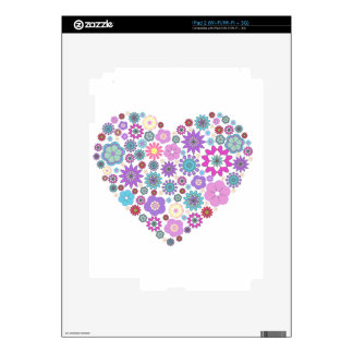 Heart made of flowers decals for iPad 2