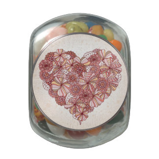 Heart made of hand drawn flowers glass candy jars