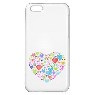 Heart Made of Hearts - Red Blue Green Pink iPhone 5C Cases