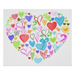 Heart Made of Hearts - Red Blue Green Pink Print