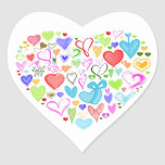 Heart Made of Hearts - Red Blue Green Pink Heart Sticker