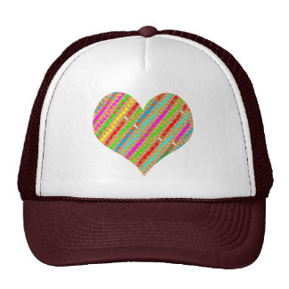 Heart made of Punch Paper Shreds Patch on Gold Sh Trucker Hat