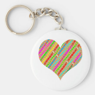 Heart made of Punch Paper Shreds Patch on Gold Sh Keychain