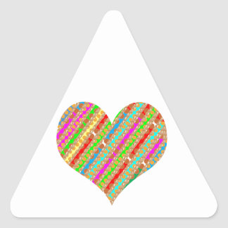 Heart made of Punch Paper Shreds Patch on Gold Sh Triangle Sticker