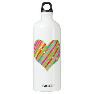 Heart made of Punch Paper Shreds Patch on Gold Sh Water Bottle