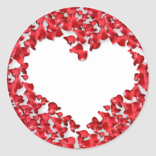 Heart Made of Rose Petals Classic Round Sticker