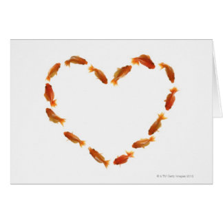 Heart made with goldfishes card
