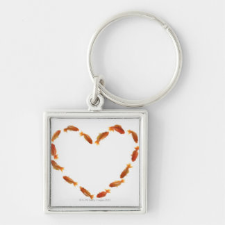 Heart made with goldfishes keychain