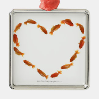 Heart made with goldfishes metal ornament