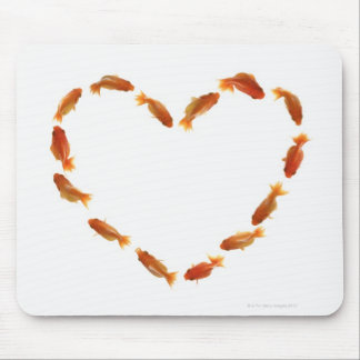 Heart made with goldfishes mouse pad