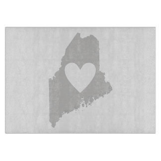 Heart Maine state silhouette Cutting Board