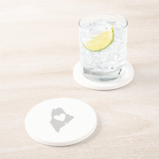 Heart Maine state silhouette Drink Coaster