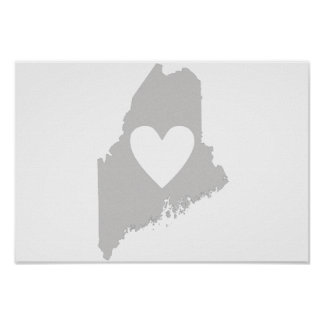 Heart Maine state silhouette Print