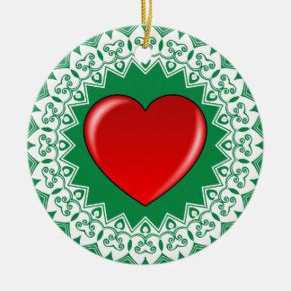 Heart Mandala Green Ornament