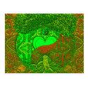 Heart Mandala Neon Green Postcard (<em>$1.00</em>)