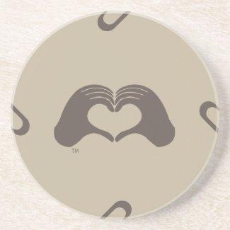 Heart Mark Hands beige Coaster, Sun Sponap line coaster