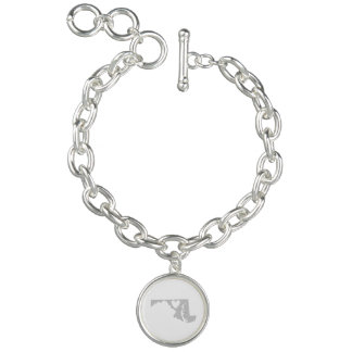Heart Maryland state silhouette Charm Bracelet