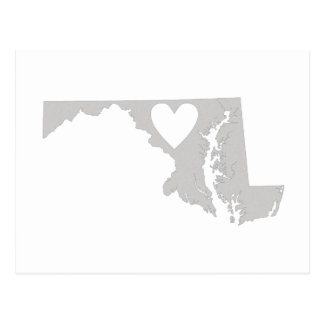 Heart Maryland state silhouette Postcard