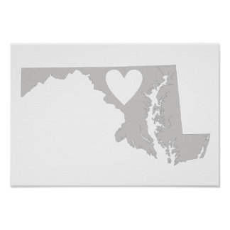 Heart Maryland state silhouette Poster