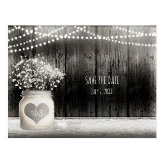 Heart Mason Jar & Baby's Breath Rustic Save Date Postcard