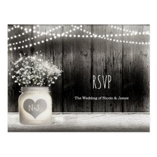 Heart Mason Jar & Babys Breath Rustic Wedding RSVP Postcard