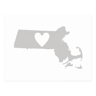 Heart Massachusetts state silhouette Postcard