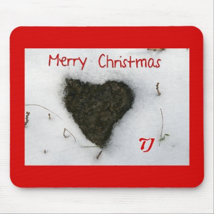 Heart melting snow / Merry Christmas Mouse Pad
