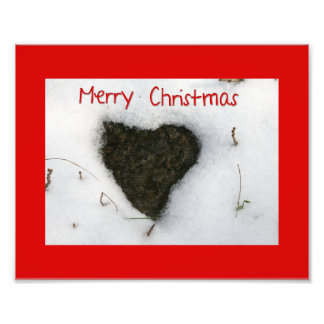 Heart melting snow / Merry Christmas Photo Print
