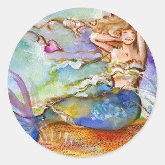 Heart Mermaid Round Stickers