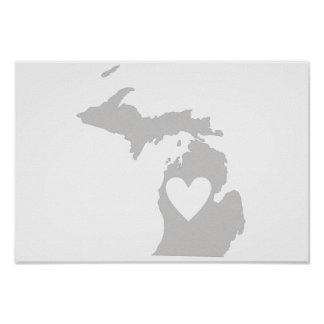 Heart Michigan state silhouette Poster