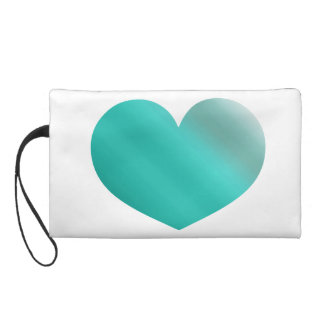 Heart Mint Ombre Watercolor Green Color Wristlet Clutch