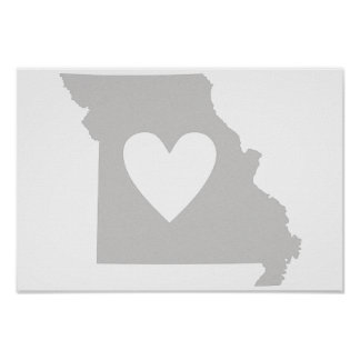 Heart Missouri state silhouette Poster
