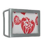 Heart Mix 1 Red Rectangular Belt Buckle