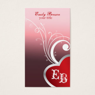 Heart Monogram Business Cards