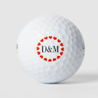 Heart monogram golf ball set for wedding couple