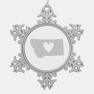 Heart Montana state silhouette Snowflake Pewter Christmas Ornament