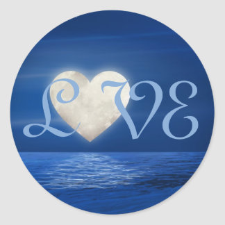 Heart Moon Over Water with Snowy Beach LOVE Classic Round Sticker