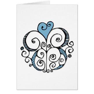 Heart Motif blue Card
