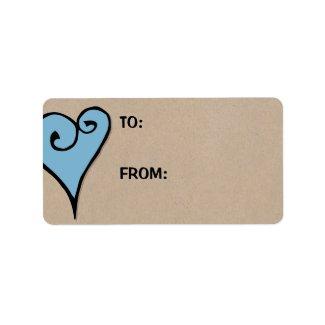 Heart Motif blue heart kraft Large Gift Tag