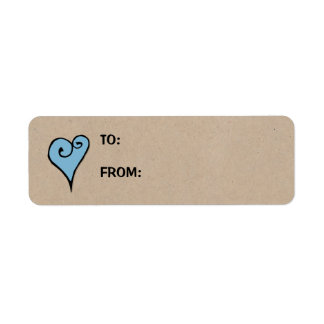 Heart Motif blue heart kraft Small Gift Tag Label