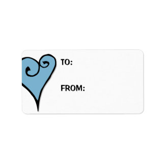 Heart Motif blue heart Large Gift Tag Label