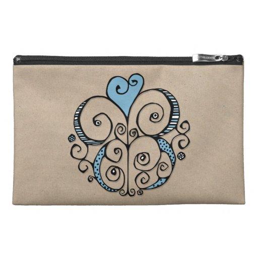 Heart Motif blue kraft Travel Accessory Bag