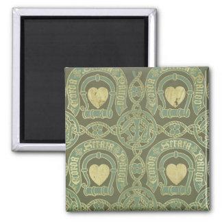 Heart motif ecclesiastical wallpaper design 2 inch square magnet