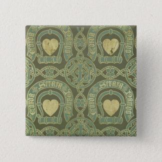 Heart motif ecclesiastical wallpaper design button