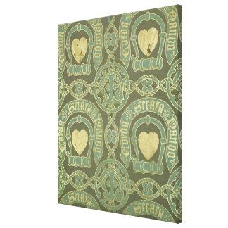 Heart motif ecclesiastical wallpaper design canvas print