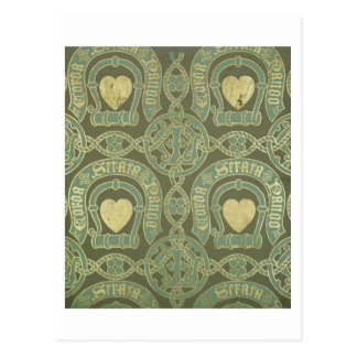 Heart motif ecclesiastical wallpaper design postcard