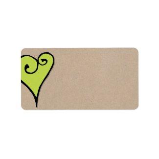 Heart Motif green heart kraft Address Label