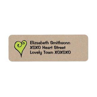 Heart Motif green heart kraft Return Address Label