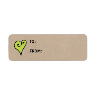 Heart Motif green heart kraft Small Gift Tag Label