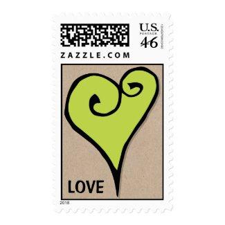 Heart Motif green heart kraft Stamp